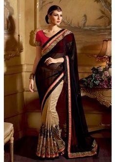 Careem couleur georgette saree, - 179,00 € #Robesindiennes #Robebollywood #Saripascher #Shopkund