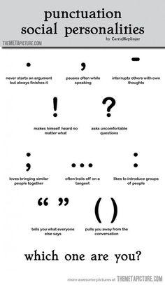 Punctuation social personalities…