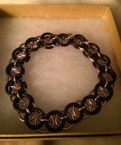 Pink and Black Bracelet in Chainmaille Stretch  by inthespicerack