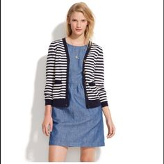 Madewell Striped Heartnote Cardigan So cute and perfect as a light sweater! This adorable striped cardigan with some very lovable elbow patches will easily earn your devotion. Colors are purple and tan. •True to size. •Cotton. •Machine wash. •Import. Madewell Sweaters Cardigans
