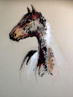 Dibujo Mustang Tinta sanguina y pastel sobre Canson A4