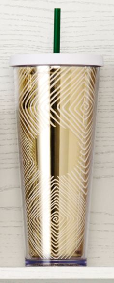 Acrylic Cold Cup featuring a white spiraling design over a metallic gold exterior. #Starbucks #DotCollection