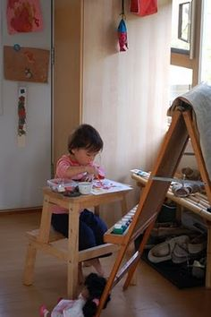 ikea stool as a little desk - brilliant!