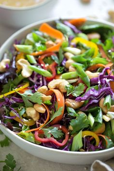 Beautiful, flavorful and the perfect base for your favorite protein. This chopped Thai salad will become a favorite in no time! Small Food Processor, Food Processor Recipes, Carrot Greens, Thai Salads, Roasted Cashews, Chili Garlic Sauce, Stuffed Sweet Peppers, Salad Ingredients, Meal Prep