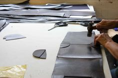 In workshop producing the first Cherchbi full leather collection in 2009