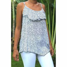 Top Lily - Woman Summer printed rayon - Bali Blue Top by CintaTomato on Etsy