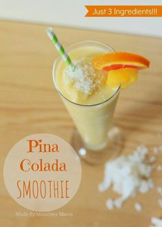 3 Ingredient Pina Colada Smoothie Recipe from @elevateeveryday blog. Weight Watcher Smoothies, Weight Watchers Desserts, Pina Colada Smoothie Recipe, Whole Food Recipes, Drink Recipes, Easy Smoothies, Paleo, Summer Drinks, 3 Ingredients