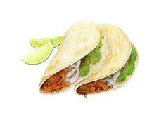 The high priestess Tacos // Food Illustration // Archival Print // by KendyllHillegas Taco Drawing, Food Drawing, Chicken Illustration, Watercolor Illustration, Pinterest Instagram, Watercolor Food, Watercolour, Food Sketch, Food Painting