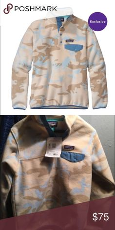 Patagonia Synchilla Snap-pullover Patagonia Synchilla Snap-T Pullover women's Size XS: Color Forest Camo: tubular blue never worn with tags still attached. Solid and heather fabrics made of warm, lightweight polyester fleece (solids: 85% recycled; heathers: 80% recycled) Patagonia Jackets & Coats
