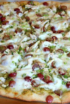 Pesto, Chicken, and Red Grape Pizza