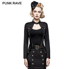 PUNK RAVE Military Uniform Handsome Fashion Punk Rock T-Shirt Black Woman Army Tops Long Sleeves Harajuku Topics Marvel Unique #Affiliate