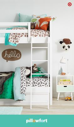 Imagine waking up in a room surrounded by adorable animal friends. With Pillowfort's Camp Kiddo collection, your little one can do just that. Snuggled up with the adorable plush bear, a comfy fox throw pillow and cozy printed sheets, kids will drift off to dream land while the panda keeps a watchful eye.
