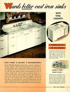 1941 Montgomery Ward Ideal Matched steel kitchen cabinets Read more: kitchens - Retro Renovation 1940s Kitchen, Retro Kitchen Decor, Vintage Kitchen, Kitchen Ideas, Kitchen Design, Retro Kitchens, Vintage Farmhouse, Rustic Kitchen, Kitchen Tools