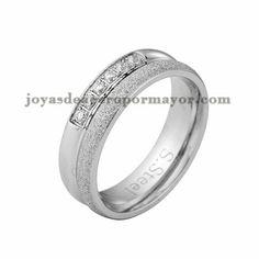 anillo con cristal de plateado en acero para mujer-SSRGG32509
