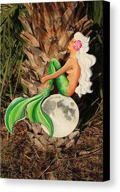 Emerald Green Mermaid Sitting On The Moon Canvas Print different sizes pick your price range. Original artwork from Grandslamfish Art Studio.