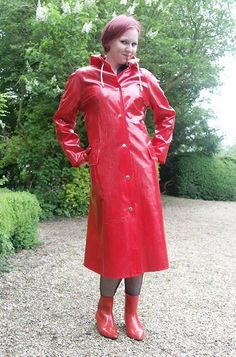Red PVC Raincoat I love the rain boots as well.