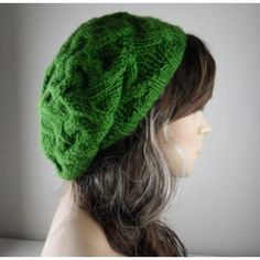 Kelly Green Knitted Beret Slouchy hand knitted beanie Winter... ($45) ❤ liked on Polyvore