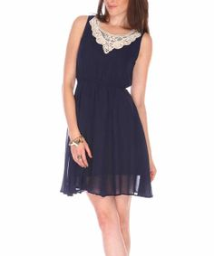 Blue & White Lace Applique Sleeveless Dress