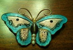 Hroar Prydz Sterling Silver Enamel Butterfly Pin with Stone and Pearls | eBay