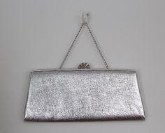 Vintage 1960s Handbag / Silver Formal Clutch Purse