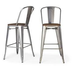 Tabouret Bistro Wood Seat Gunmetal Finish Bar Stools (Set of 2)