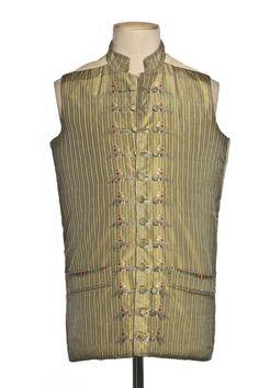 Vest, France, 1785, Chinese silk striped taffeta, brocade and covered buttons. | Centre de documentation des musées - Les Arts Décoratifs