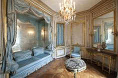 """Noblesse & Royautés.  Marie Antoinette's Meridian Room.  Meridian meaning for the """"in between"""" hours - audiences, official lunch and dinners, etc.. - if she chose to go to this room"""