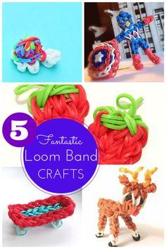 5 fantastic loom band crafts (turtle, Captain America superhero, strawberry charm, skateboard & reindeer)