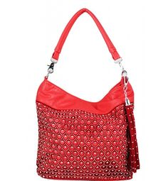Bling Fashion Hobo Red  Bling Fashion Hobo Red Leather Feel Material 8 in Drop Length Dual Carry Handles Closing Zipper Stones in Front Fully Lined Interior in Fabric Material Silver Toned Hardware Color:  Red Approximate Size: 10L x 9H x 3W Model: 347-4