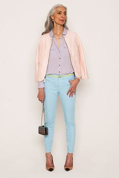 Credit: David Newby for the Guardian Pam wears pink leather jacket, from a selection, Graham and Spencer. Lilac crepe shirt, £110, Whistles. Pale blue skinny jeans, £44.95, Gap. Chain box bag, £179, and shoes, £179, both Reiss. Belt, stylist's own