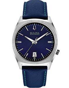 Bulova Mid-Size Accutron II Surveyor Watch - Blue Dial - Blue Leather Strap