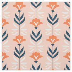 Modern blue and orange floral pattern fabric - floral style flower flowers stylish diy personalize