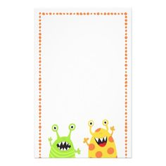 Cute and fun custom stationery for children featuring two happy monsters or aliens, one green with stripes and one yellow with orange dots. Around is an orange dot border. The monster are happy and look like they are cheering. Bright and colorful design.