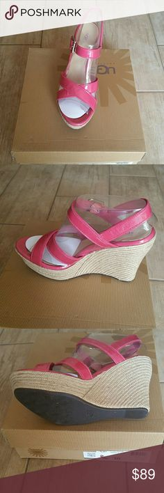 NWT Women's Jackilyn wedges Sandals Pink Sz Us 10 classic and colorful in the fun-loving, free-wheeling Jackilyn wedge.. Patent leather upper in a summery slingback sandal style with crisscross straps at toe and buckle strap at instep.. Adjustable antiqued-metal buckle closure for a flexible fit.. Luxurious, leather-wrapped, cushioned Poron? insole for ultimate comfort.. Lightweight, sculpted wedge and platform.. Cork-infused rubber outsole.. Imported.Measurements: Heel Height: 4 in. Weight…