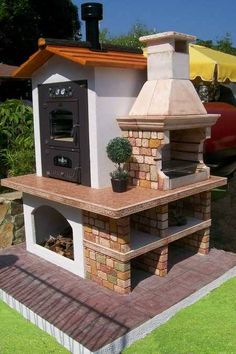Diy Outdoor Kitchen, Backyard Kitchen, Backyard Patio, Outdoor Decor, Outdoor Kitchens, Outdoor Fire, Outdoor Living, Backyard Smokers, Brick Bbq