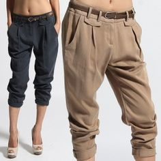 MOGAN Stylish Pleated Tapered Cropped BAGGY TROUSERS Casual Cuffed Ankle Pants