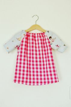 Belle & Boo print with pink gingham toddler babies girls tunic dress top in age 1-2. $20.00, via Etsy.
