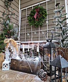 Some cool features to this holiday porch decoration.