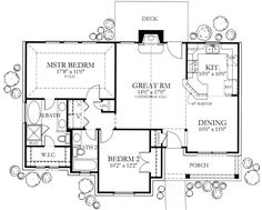 Ranch Style House Plan - 2 Beds 2 Baths 1092 Sq/Ft Plan Floor Plan - Main Floor Plan - Add large closet along right side of room. Add garage on kitchen side & a pantry. Ranch House Plans, Dream House Plans, Small House Plans, House Floor Plans, The Plan, How To Plan, Texas Style Homes, Ranch Style Homes, Br House
