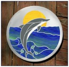 Nautical Stained Glass dolphin