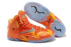 "Nike LeBron Xi ""Forging Iron"" Men Size Basketball Shoes Urban Orange Light Armory Blue Laser Orange"