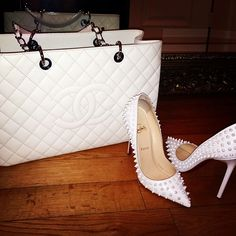 White heels and Chanel bag