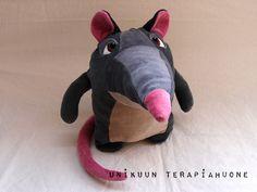 Relax-Ralfie- Very fluffy Rat -soft toy by unikuun terapiahuone