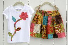SPIRIT Patchwork Twirl Skirt and Flower shirt by lylabugcreations
