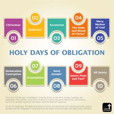 There are ten Holy Days of Obligation listed by Rome. In the United Sates six, besides Sundays are celebrated | Catholic Infographics