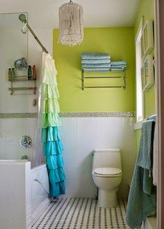 Lime Green Bathrooms, Green Bathroom Decor, Bathroom Colors, Funky Bathroom, Turquoise Bathroom, Colorful Bathroom, Design Bathroom, Small Bathroom, Bathroom Ideas