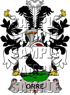 Orre Family Crest apparel, Orre Coat of Arms gifts
