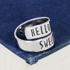 Hello Sweetie Aluminum Wrap Ring