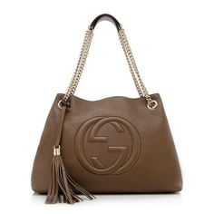0919492595b6 Gucci Soho Leather Shoulder Bag Dark Brown Cuir Gold Chain Handbag New  Italy https:/