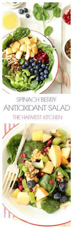 This Spinach Berry Antioxidant Salad is a perfect summer salad. The honey lime vinaigrette makes it completely addicting! @theharvestkitchen.com